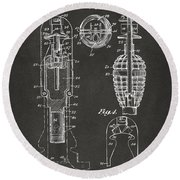 1921 Explosive Missle Patent Minimal Gray Round Beach Towel