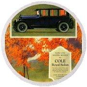 1923 - Cole Royal Sedan - Advertisement - Color Round Beach Towel