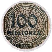 1923 100 Million Mark German Stamp Round Beach Towel