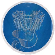 1923 Harley Davidson Engine Patent Artwork - Blueprint Round Beach Towel