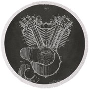 1923 Harley Engine Patent Art - Gray Round Beach Towel