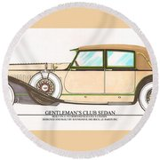 1923 Hispano Suiza Club Sedan By R.h.dietrich Round Beach Towel