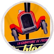 1924 - Ca-bloc Brakes French Advertisement Poster - Color Round Beach Towel