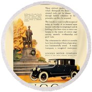 1924 - Lincoln Automobile - Color Round Beach Towel