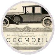 1924 - Locomobile Victoria Sedan Automobile Advertisement Round Beach Towel