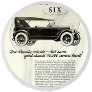 1924 - Oldsmobile Six Automobile Advertisement Round Beach Towel