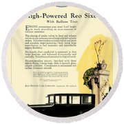 1924 - Reo Six Automobile Advertisement - Color Round Beach Towel