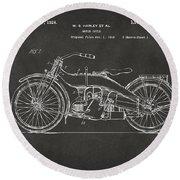1924 Harley Motorcycle Patent Artwork - Gray Round Beach Towel