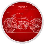 1924 Harley Motorcycle Patent Artwork Red Round Beach Towel by Nikki Marie Smith