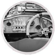 1925 Aston Martin 16 Valve Twin Cam Grand Prix Steering Wheel -0790bw Round Beach Towel