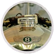 1925 Bentley 3-liter 100mph Supersports Brooklands Two-seater Radiator Cap Round Beach Towel by Jill Reger