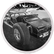 1925 Ford Model T Hot Rod Bw Round Beach Towel