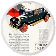 1926 - Chrysler Imperial Convertible Model 80 Automobile Advertisement - Color Round Beach Towel