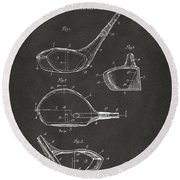 1926 Golf Club Patent Artwork - Gray Round Beach Towel