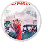 1927 - American Motorist A A A  April Magazine Cover - Color Round Beach Towel