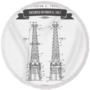 1927 Oil Well Rig Patent Drawing - Retro Gray Round Beach Towel
