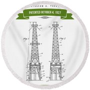 1927 Oil Well Rig Patent Drawing - Retro Green Round Beach Towel