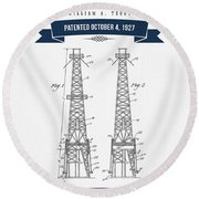 1927 Oil Well Rig Patent Drawing - Retro Navy Blue Round Beach Towel