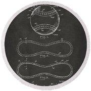 1928 Baseball Patent Artwork - Gray Round Beach Towel