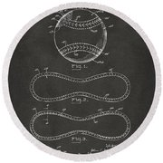 1928 Baseball Patent Artwork - Gray Round Beach Towel