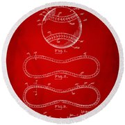 1928 Baseball Patent Artwork Red Round Beach Towel