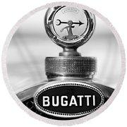1928 Bugatti Type 44 Cabriolet Hood Ornament - Emblem Round Beach Towel