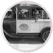 1928 Chevy Half Ton Pick Up In Black And White Round Beach Towel