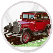 1928 Ford Model A Two Door Round Beach Towel