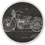 1928 Harley Motorcycle Patent Artwork - Gray Round Beach Towel by Nikki Marie Smith