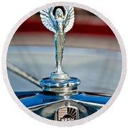 1928 Nash Coupe Hood Ornament 2 Round Beach Towel