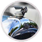 1928 Pontiac Hood Ornament And Badge Round Beach Towel