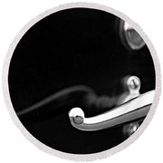 1928 Rolls-royce Phantom 1 Door Handle Black And White Round Beach Towel