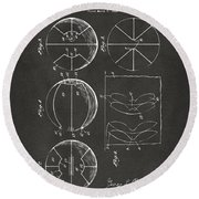 1929 Basketball Patent Artwork - Gray Round Beach Towel by Nikki Marie Smith