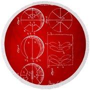1929 Basketball Patent Artwork - Red Round Beach Towel