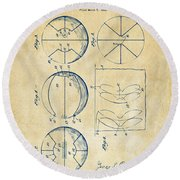 1929 Basketball Patent Artwork - Vintage Round Beach Towel