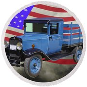 1929 Blue Chevy Truck And American Flag Round Beach Towel
