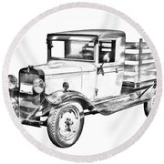 1929 Chevy Truck 1 Ton Stake Body Drawing Round Beach Towel
