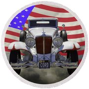 1929 Cord 6-29 Cabriolet Antique Car With American Flag Round Beach Towel