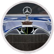 1929 Mercedes Benz S Erdmann And Rossi Cabiolet Hood Ornament Round Beach Towel