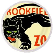 1930 - Brookfield Zoo Poster - Boston - Color Round Beach Towel