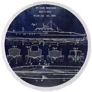 1930 Ship's Hull Patent Drawing Blue Round Beach Towel