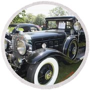 1930 Cadillac V-16 Imperial Limousine Round Beach Towel