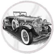 1930 Duesenberg Model J Round Beach Towel
