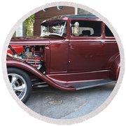1930 Ford Two Door Sedan Side View Round Beach Towel