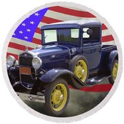 1930 Model A Ford Pickup Truck And American Flag Round Beach Towel