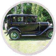 1930 Model-a Town Car 1 Round Beach Towel