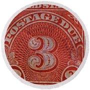 1930 Three Cents Postage Due Stamp Round Beach Towel