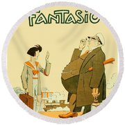 1931 - Fantasio French Magazine Cover - September - Color Round Beach Towel