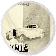 1931 - Unic 8 French Automobile Advertisement Round Beach Towel