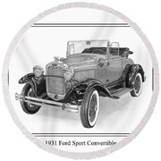 1931 Ford Convertible Round Beach Towel